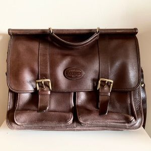 Fossil brown leather briefcase, laptop bag